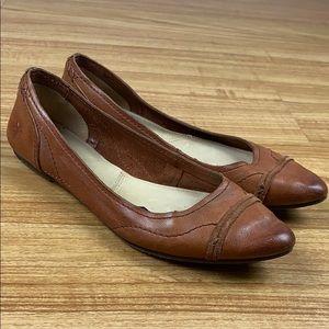 Frye Pointy Toe Brown Leather Regina Flats 8